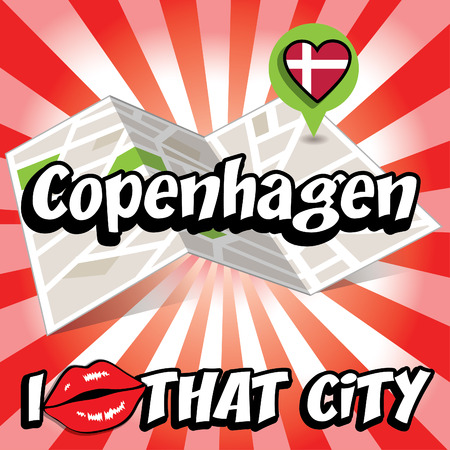 that: I Love That City with Denmark country flag Illustration