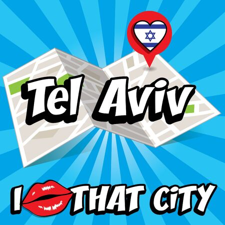 tel aviv: Pop art Tel Aviv and I love that city typography Illustration