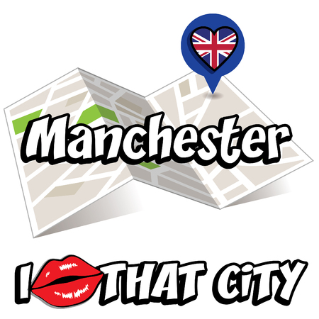 that: Pop art Manchester and I love that city typography Illustration