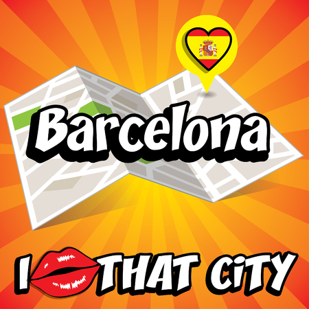 that: Pop art Barcelona and I love that city typography