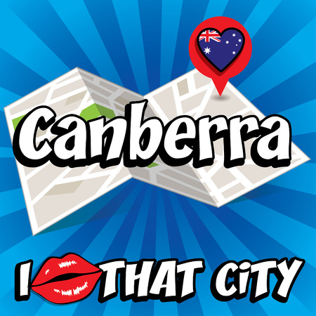 Canberra: Pop art Canberra and I love that city typography Illustration