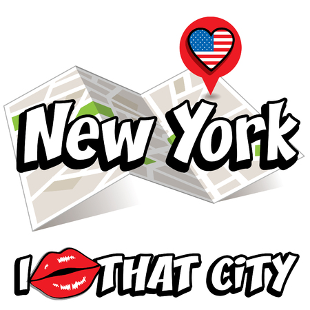 that: Pop art New York with I love that city typography