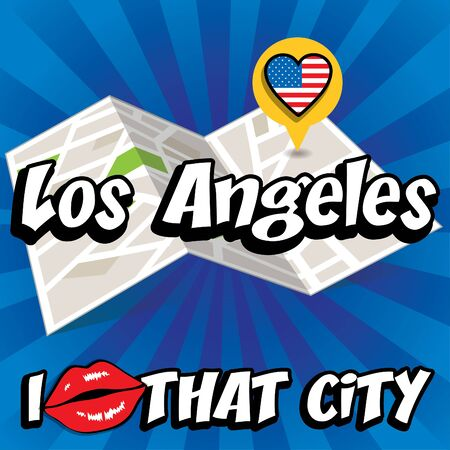los angeles: Pop art Los Angeles with I love that city typography