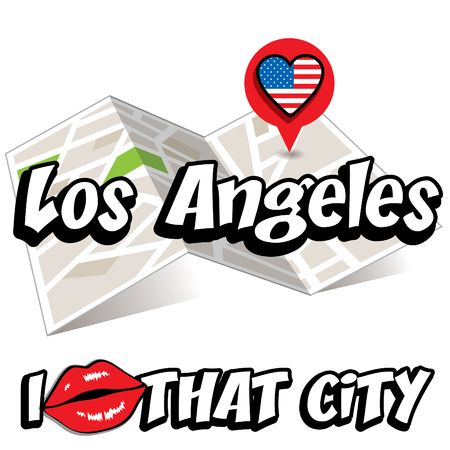 that: Pop art Los Angeles with I love that city typography