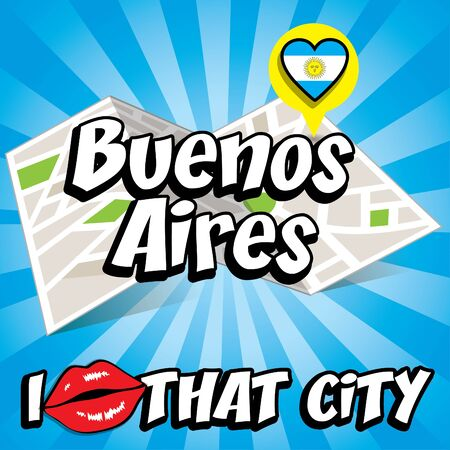 that: Pop art Buenos Aires with I love that city typography