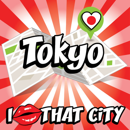 that: Pop art Tokyo with I love that city typography
