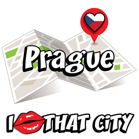 that: Pop art Prague with I love that city typography