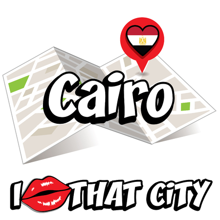 cairo: Pop art Cairo with I love that city typography