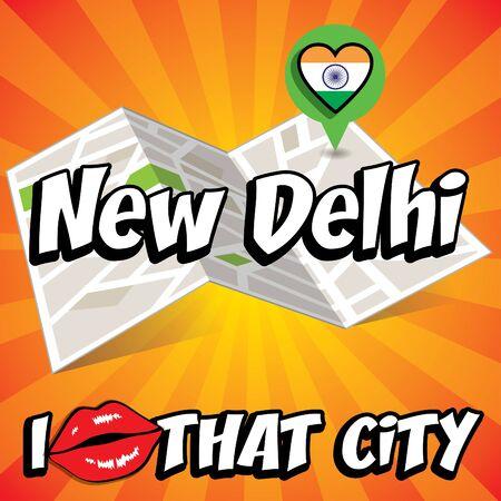 new delhi: Pop art New Delhi with I love that city typography Illustration