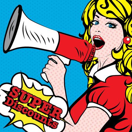 Pop art vrouw die luidspreker met super kortingen typografie