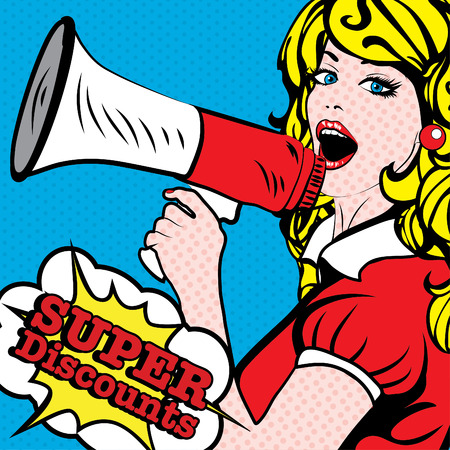 Pop art woman holding loudspeaker with super discounts typography
