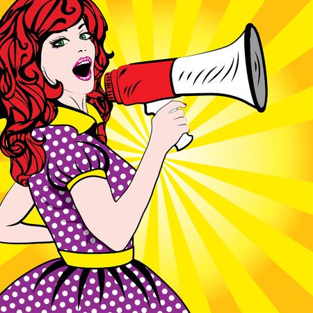 megafono: altavoz detiene a la mujer del arte pop Vectores