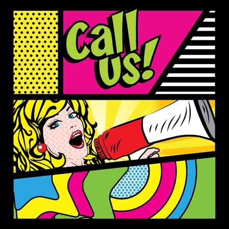 Pop art woman holding loudspeaker with call us typography