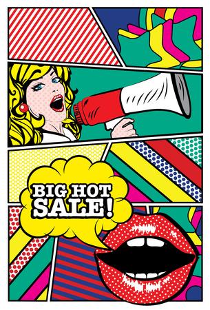 大きな熱い販売のタイポグラフィとスピーカーを保持しているポップアート女性  イラスト・ベクター素材