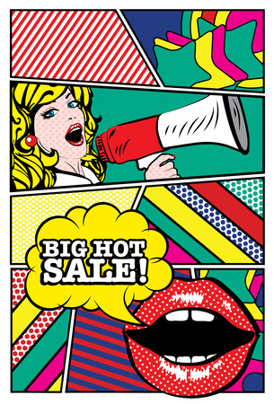 hot: Pop art woman holding loudspeaker with big hot sale typography