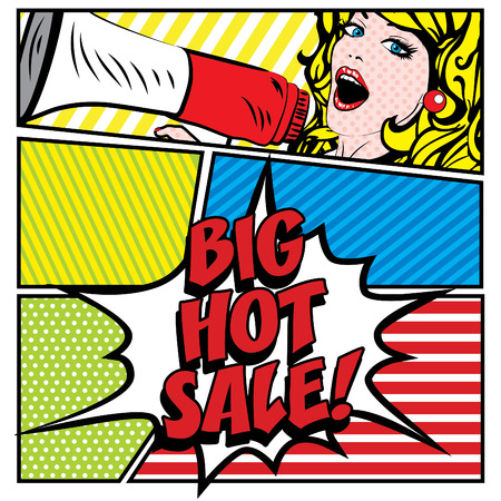 hot woman: Pop art woman holding loudspeaker with big hot sale typography