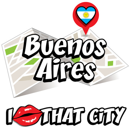 aires: Pop art buenos aires and I love that city Illustration