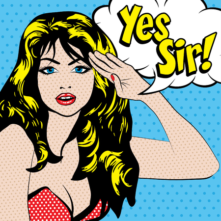 sir: Pop art woman with yes sir typography