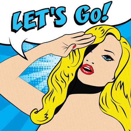 sir: Pop art woman salute with lets go typography
