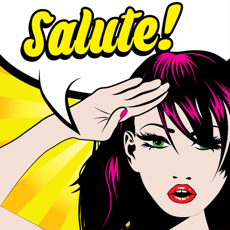 salute: Pop art woman salute