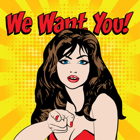 Pop art we want you typography