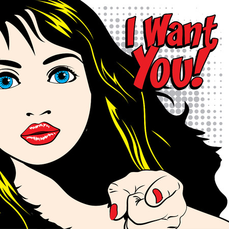 Pop art I want you typography