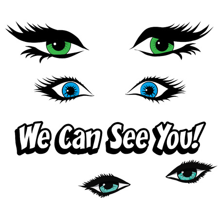 we: Pop art eyes with we can see you typography