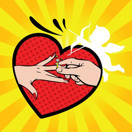 cupid man: Wedding invitation groom and bride hands with ring in a heart and cupid Illustration