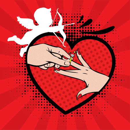 wedding ring: wedding invitation - groom and bride hands with wedding ring in a heart and sweet cupid