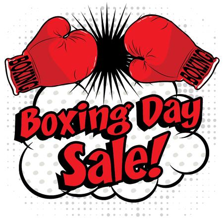Puño con el texto de la venta el Boxing Day