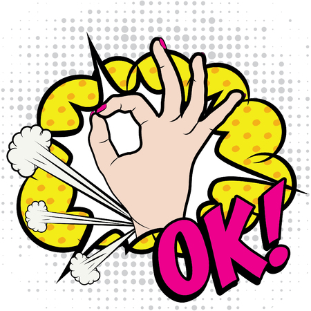 ok: Pop art woman hand with okay gesture and ok text Illustration