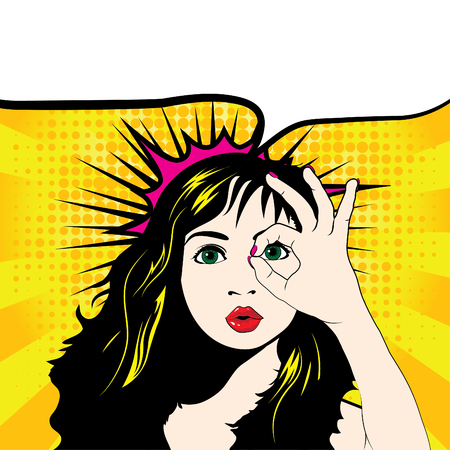 alright: Pop art woman with ok gesture Illustration