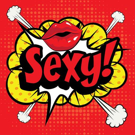 cartoon lips: Pop art comics icon sexy Illustration