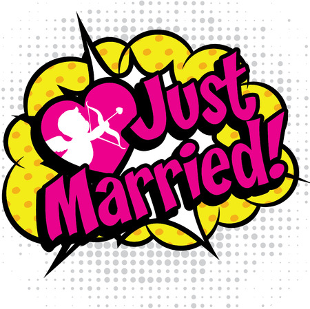 cartoon wedding: Pop art comics icon just married