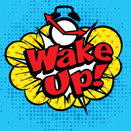 cartoon clock: Pop art comics icon wake up Illustration