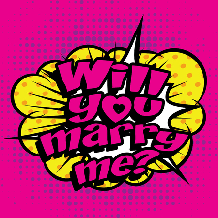 marry: Pop art comics icon will you marry me