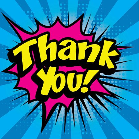Pop art comics icon thank you Illustration
