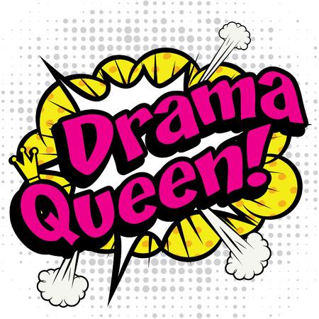 Pop art comics icon dama queen Vectores