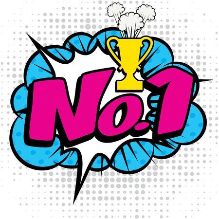 no1: Pop art comics icon No.1 text Illustration