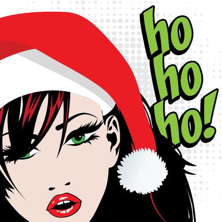 ho: Pop art woman with santa hat and ho ho ho text Illustration