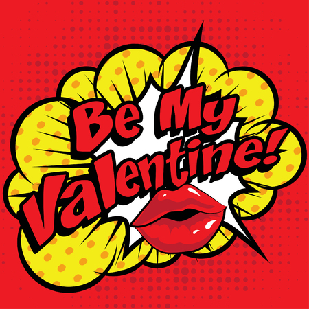 love blast: Pop art comics icon be my valentine