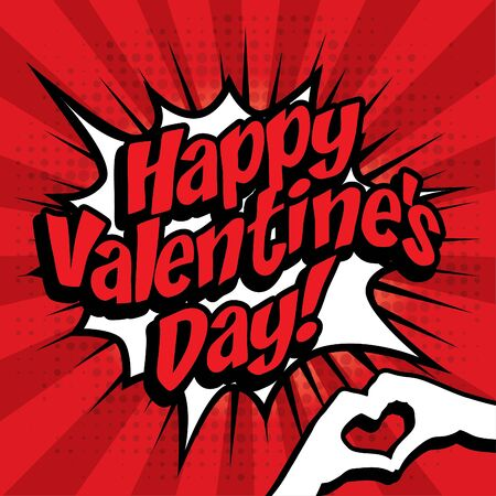 love blast: Pop art comics icon happy valentines day Illustration