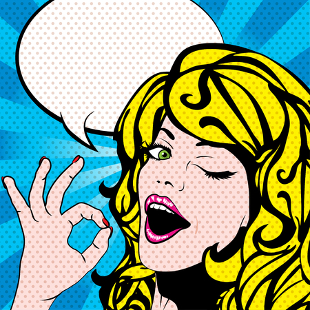 ok sign: Pop art woman winks and ok sign Illustration