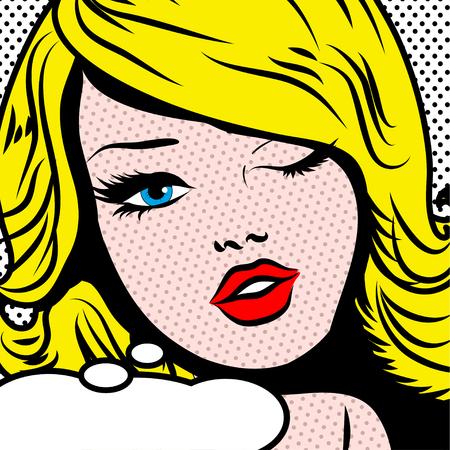 Pop art woman winks Illustration