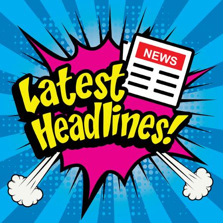 Pop art comics icon latest headlines typography