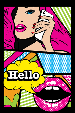 woman on phone: Pop art woman talking on the phone with hello text Illustration