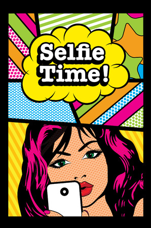 woman on phone: Pop art woman holding a phone with selfie time text Illustration