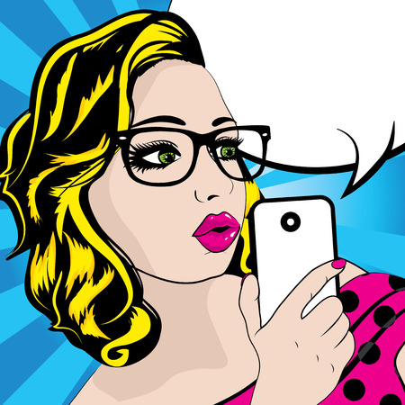 woman on phone: Pop art woman holding phone Illustration
