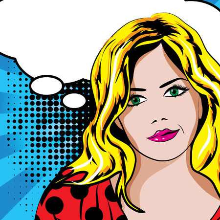 beauty smile: Pop art woman with speech bubble