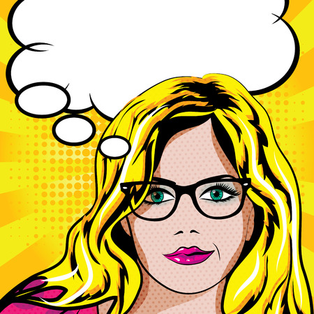 Pop art woman with glasses thinking Stock Illustratie